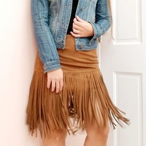 Fringe Faux Suede Brown Skirt size S Forever 21